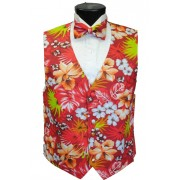 Red Hawaiian Floral Tuxedo Vest and Bow Tie