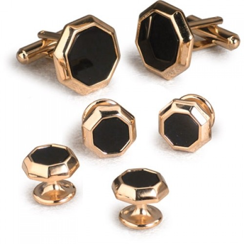 Black Onyx Hexagon Cufflinks and Studs