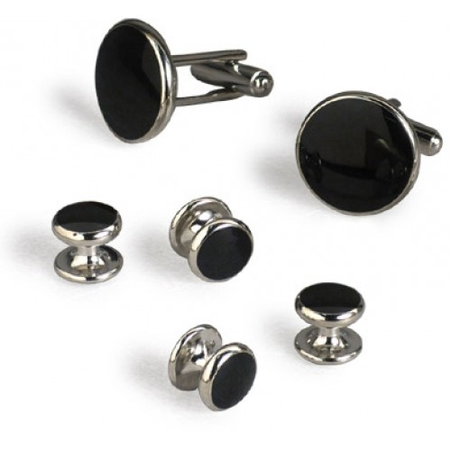 Classic Silver and Black Onyx Cufflinks and Studs