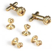 Gold Mini Knot Cufflinks and Studs