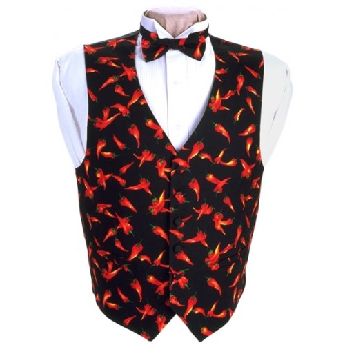 Chili Peppers Vest and Bow Tie Set