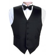 Black Satin Vest and Tie Set