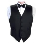 Black Satin Vest and Tie Set