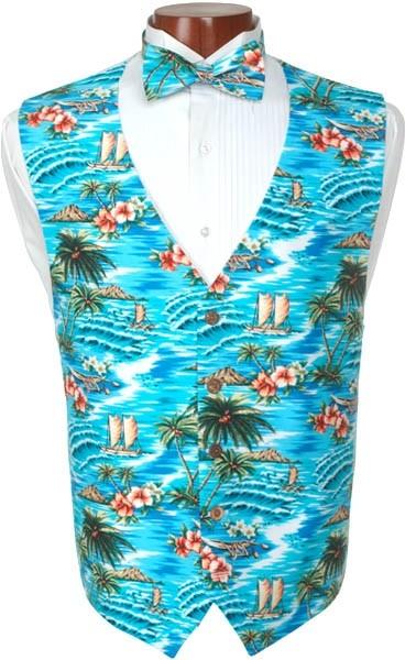 Hawaiian Luau Tuxedo Vest and Bowtie
