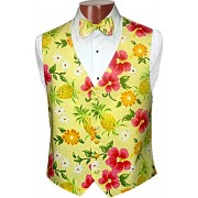 Pineapple and Pink Tuxedo Vest and Bow Tie Set
