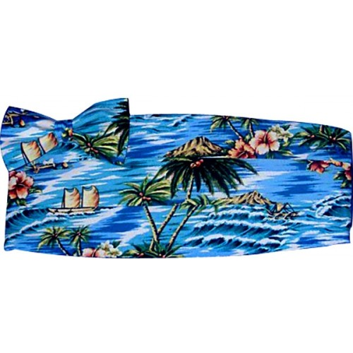 Blue Tropicals Cummerbund and Bow Tie Set