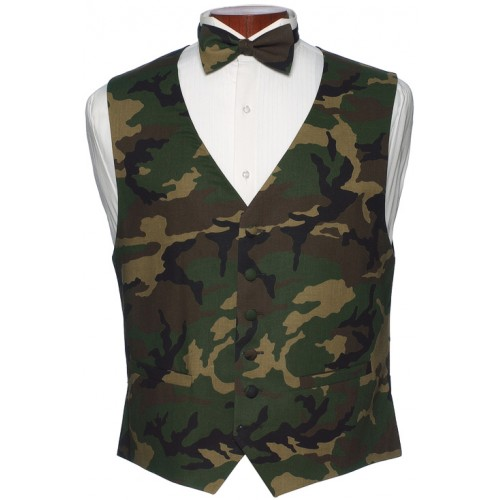 Camouflage Vest and Bow Tie Set