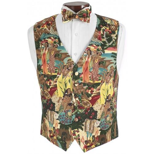 Hawaiian Luau Vest and Bow Tie Set