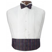 Multicolor  Mardi Gras Cummerbund and Bow Tie Set