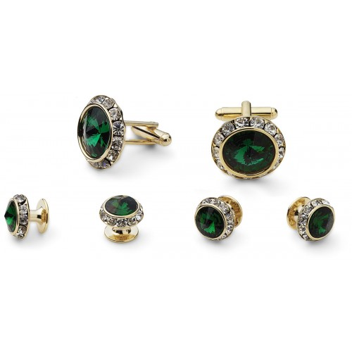 Emerald Cufflink and Stud Set
