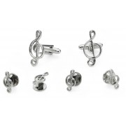 Treble Clef Cufflink and Stud Set