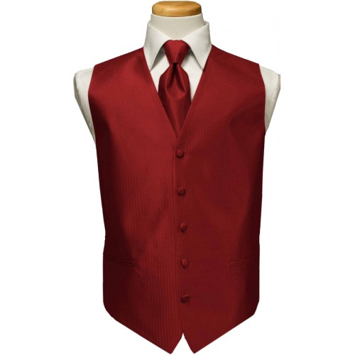 Custom Color Herringbone Vest and Tie Set