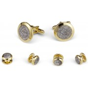 Glitter Stone Cufflink and Stud Set