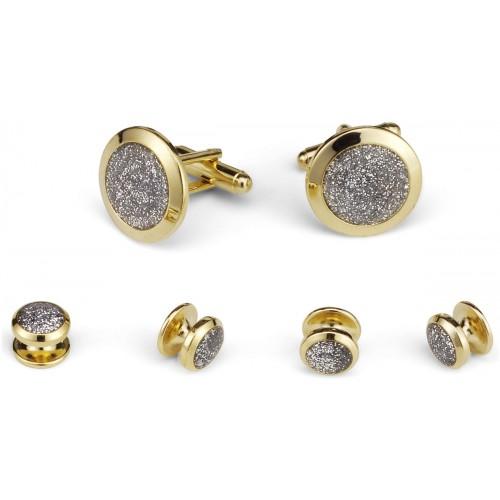 Glitter Stone Cufflink and Stud Set