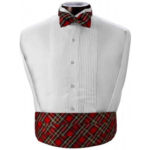 plaid cummerbund and bow tie set