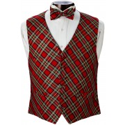 Plaid Tuxedo Vest and Bow Tie Set