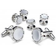 Diamond Cut Mother of Pearl Cufflinks and Studs
