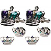 Mardi Gras Colored Crowns Cufflinks and Studs