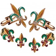 Fleur de Lis Colored Cufflinks and Studs