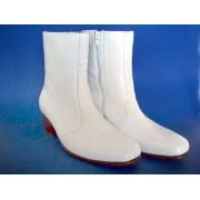 White Cuban Heel Boots