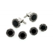 Antiqued Pattern Border Cufflinks and Studs