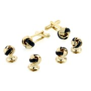 Black Enamel Knot Cufflinks and Studs