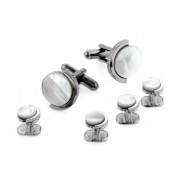 Half Moon Mother of Pearl Cufflinks and Studs