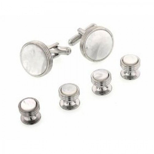 Concentric Edge Mother of Pearl Cufflinks and Studs