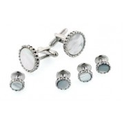 Fluted Edge Mother of Pearl Cufflinks and Studs
