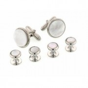 Radius Edge Mother of Pearl Cufflinks and Studs