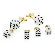 White Dice Cufflinks and Studs