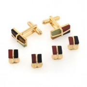 Mosaic Stone Cufflinks and Studs