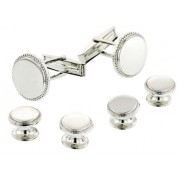 Sterling Silver Beaded Edge Cufflinks and Studs
