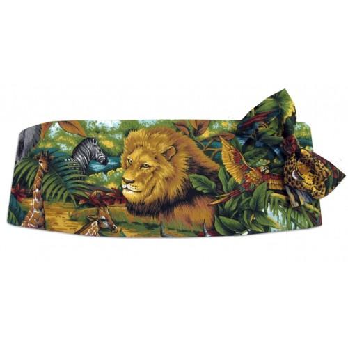 King of the Jungle Cummerbund and Tie Set