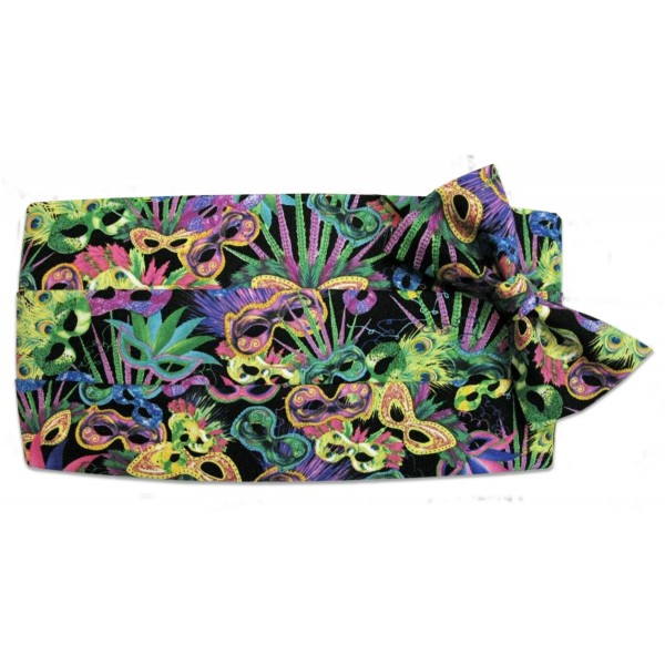 Mardi Gras Black and White Fleur de Lis Cummerbund and Bow Tie