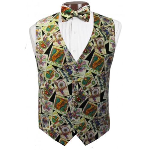 Mardi Gras Jazz Posters Vest and Tie Set