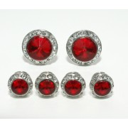 Ruby Red Cufflink and Stud Set