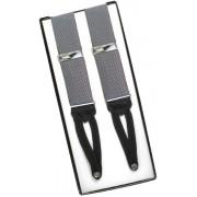 Silver Gray Silk Suspenders