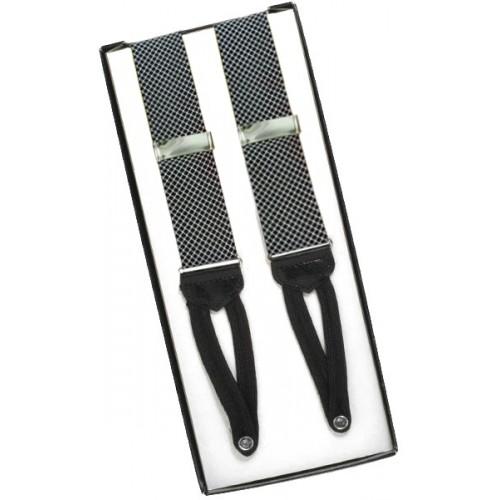 Black and Gray Birdseye Silk Suspenders