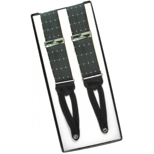 Gray Pin Dot Silk Suspenders