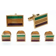Mardi Gras Stripes Colored Cufflinks and Studs