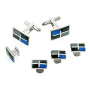 Four Section Enamel Cufflinks and Studs