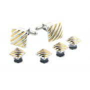 Teller Two Tone Cufflinks and Studs