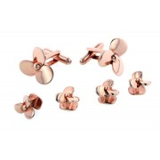 Rose Gold Propeller Cufflinks and Studs