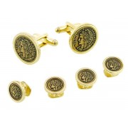 Faux French Coin Cufflinks and Studs