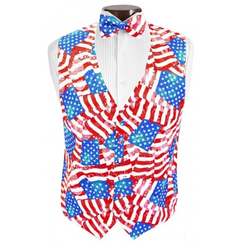 Patriotic Tuxedo Vest and Tie Set