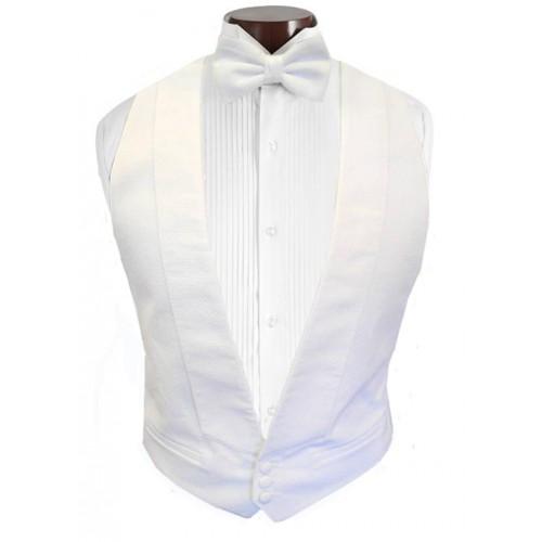 White Piqué Vest and Tie Set