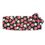 Red and White Dice Cumberbund and Tie Set