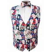 Las Vegas Playing Cards Tuxedo Vest and Bow Tie Set