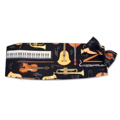 Musical Instruments Cummerbund and Tie